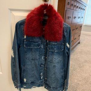 BLANK NYC Denim Jacket with Faux Fur Collar